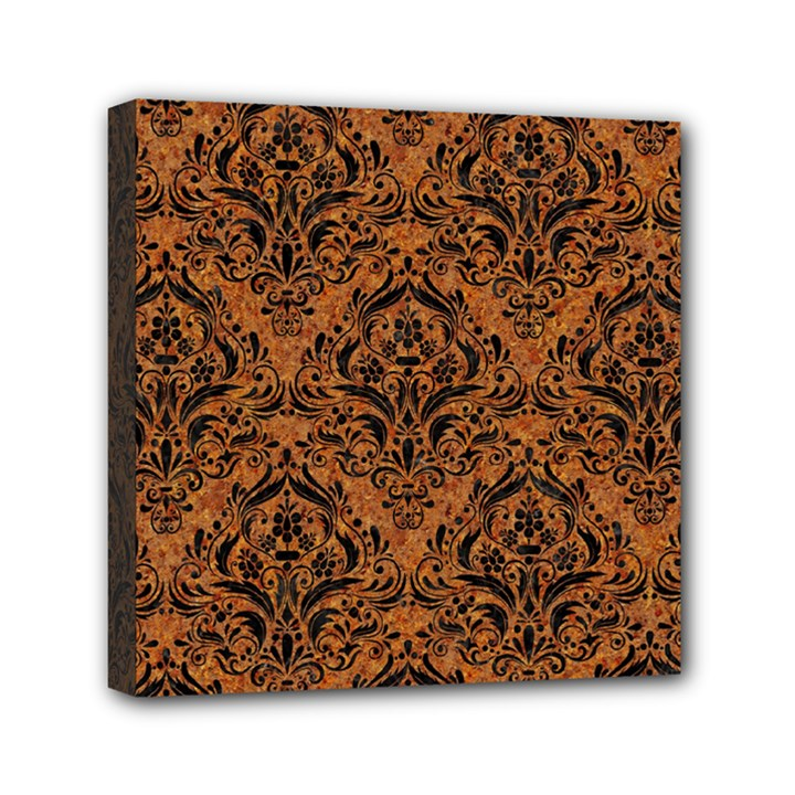 DAMASK1 BLACK MARBLE & RUSTED METAL Mini Canvas 6  x 6