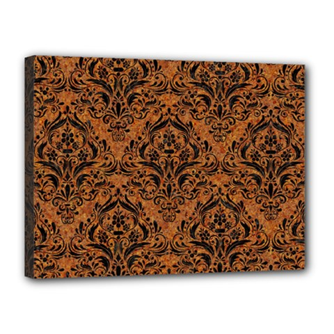 Damask1 Black Marble & Rusted Metal Canvas 16  X 12