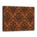 DAMASK1 BLACK MARBLE & RUSTED METAL Canvas 16  x 12  View1