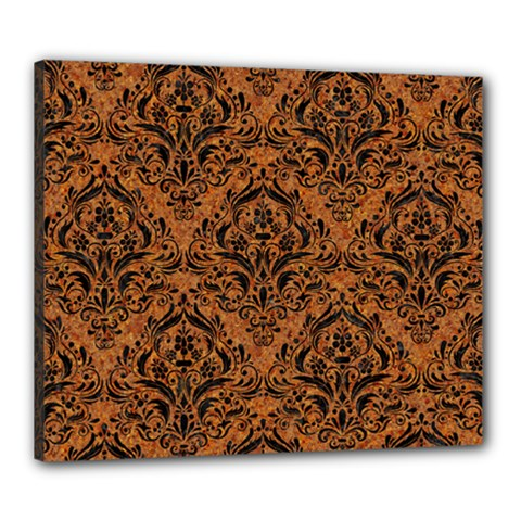 Damask1 Black Marble & Rusted Metal Canvas 24  X 20
