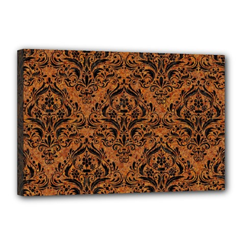 DAMASK1 BLACK MARBLE & RUSTED METAL Canvas 18  x 12
