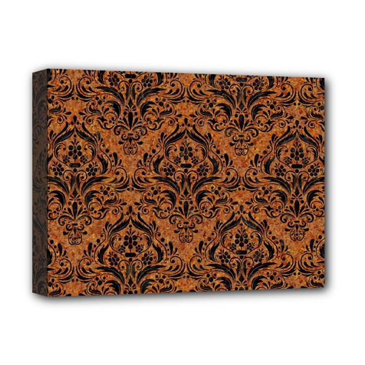 DAMASK1 BLACK MARBLE & RUSTED METAL Deluxe Canvas 16  x 12