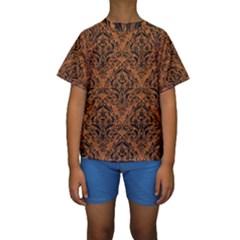 DAMASK1 BLACK MARBLE & RUSTED METAL Kids  Short Sleeve Swimwear