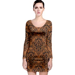 DAMASK1 BLACK MARBLE & RUSTED METAL Long Sleeve Bodycon Dress