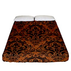 Damask1 Black Marble & Rusted Metal Fitted Sheet (queen Size) by trendistuff