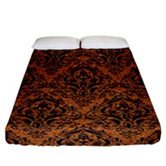 Damask1 Black Marble & Rusted Metal Fitted Sheet (california King Size) by trendistuff