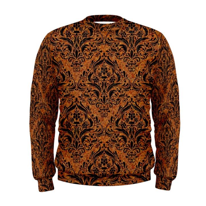 DAMASK1 BLACK MARBLE & RUSTED METAL Men s Sweatshirt