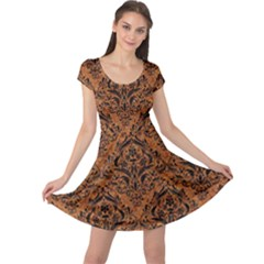 DAMASK1 BLACK MARBLE & RUSTED METAL Cap Sleeve Dress