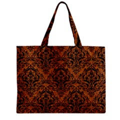 Damask1 Black Marble & Rusted Metal Zipper Mini Tote Bag by trendistuff