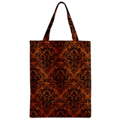 Damask1 Black Marble & Rusted Metal Zipper Classic Tote Bag by trendistuff