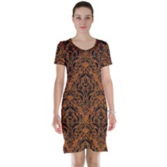 DAMASK1 BLACK MARBLE & RUSTED METAL Short Sleeve Nightdress