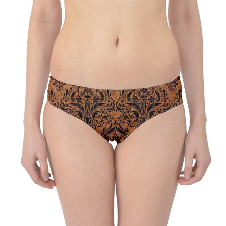 DAMASK1 BLACK MARBLE & RUSTED METAL Hipster Bikini Bottoms