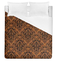 Damask1 Black Marble & Rusted Metal Duvet Cover (queen Size) by trendistuff