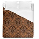 DAMASK1 BLACK MARBLE & RUSTED METAL Duvet Cover (Queen Size) View1