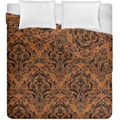 Damask1 Black Marble & Rusted Metal Duvet Cover Double Side (king Size) by trendistuff