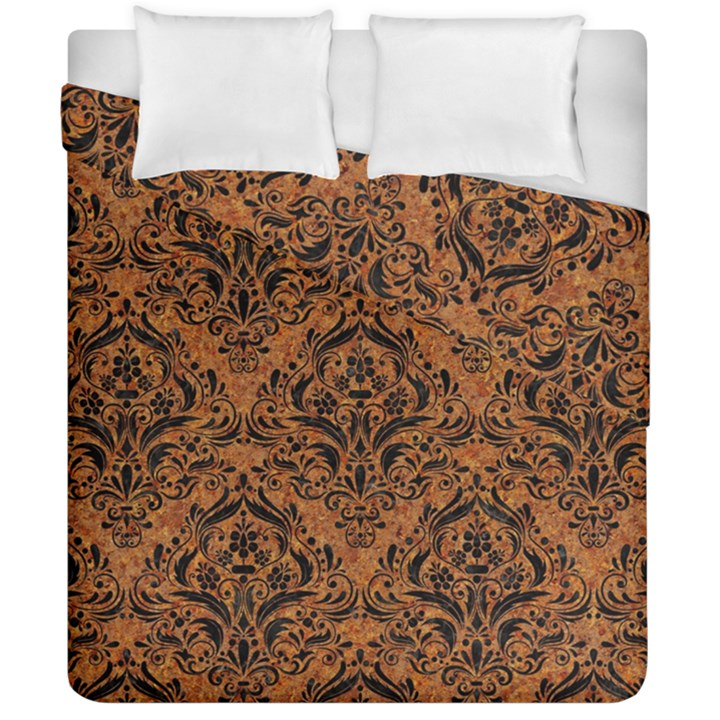 DAMASK1 BLACK MARBLE & RUSTED METAL Duvet Cover Double Side (California King Size)
