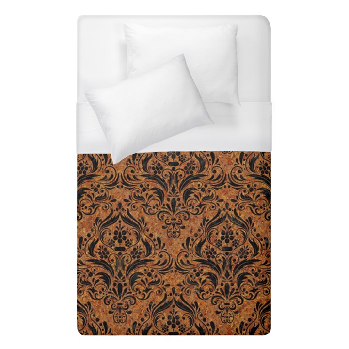 DAMASK1 BLACK MARBLE & RUSTED METAL Duvet Cover (Single Size)