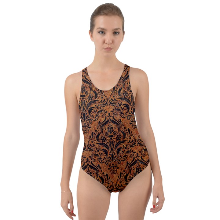 DAMASK1 BLACK MARBLE & RUSTED METAL Cut-Out Back One Piece Swimsuit