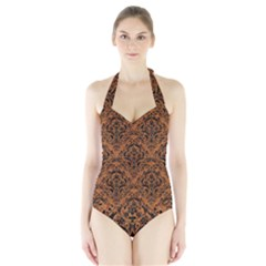 Damask1 Black Marble & Rusted Metal Halter Swimsuit