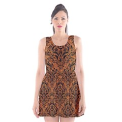 Damask1 Black Marble & Rusted Metal Scoop Neck Skater Dress
