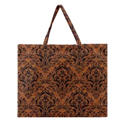 Damask1 Black Marble & Rusted Metal Zipper Large Tote Bag by trendistuff