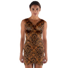 Damask1 Black Marble & Rusted Metal Wrap Front Bodycon Dress
