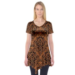 Damask1 Black Marble & Rusted Metal Short Sleeve Tunic