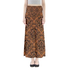 Damask1 Black Marble & Rusted Metal Full Length Maxi Skirt