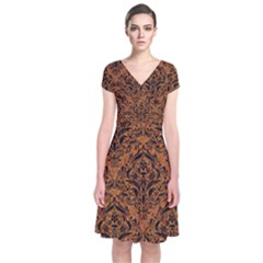 DAMASK1 BLACK MARBLE & RUSTED METAL Short Sleeve Front Wrap Dress