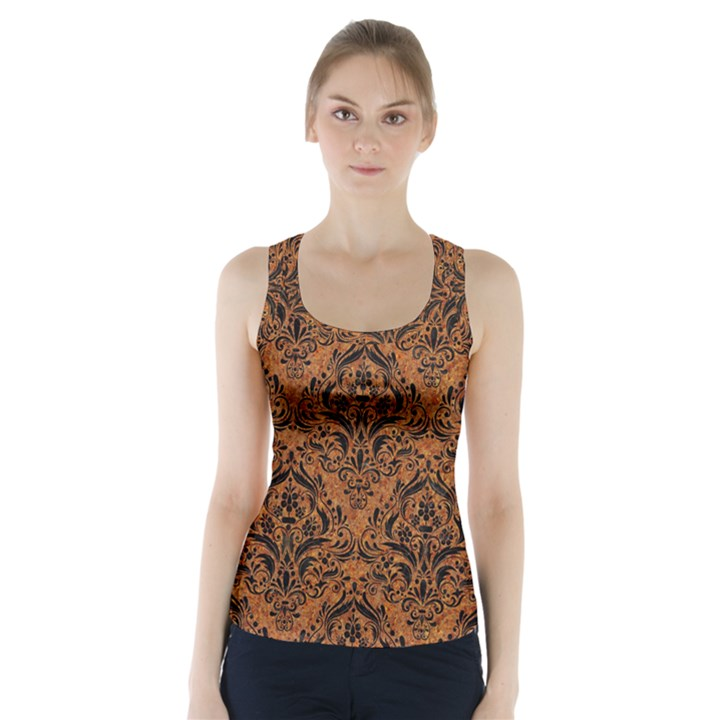 DAMASK1 BLACK MARBLE & RUSTED METAL Racer Back Sports Top