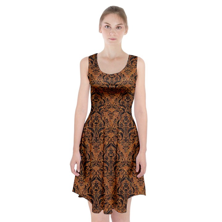 DAMASK1 BLACK MARBLE & RUSTED METAL Racerback Midi Dress