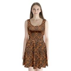 DAMASK1 BLACK MARBLE & RUSTED METAL Split Back Mini Dress