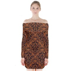 Damask1 Black Marble & Rusted Metal Long Sleeve Off Shoulder Dress