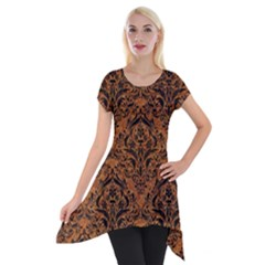 DAMASK1 BLACK MARBLE & RUSTED METAL Short Sleeve Side Drop Tunic