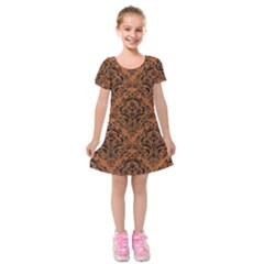 DAMASK1 BLACK MARBLE & RUSTED METAL Kids  Short Sleeve Velvet Dress