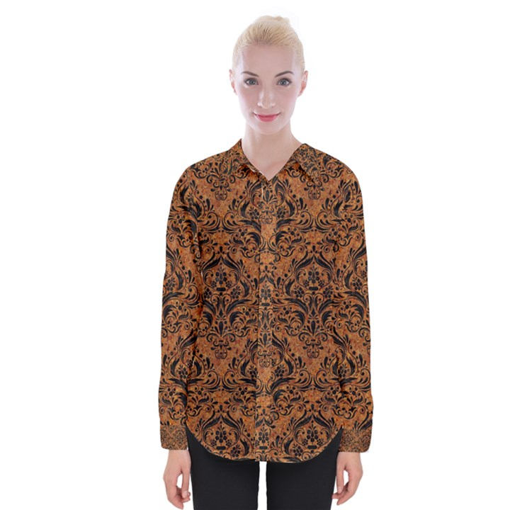 DAMASK1 BLACK MARBLE & RUSTED METAL Womens Long Sleeve Shirt