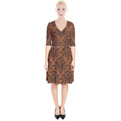 Damask1 Black Marble & Rusted Metal Wrap Up Cocktail Dress