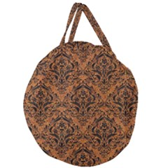 Damask1 Black Marble & Rusted Metal Giant Round Zipper Tote by trendistuff