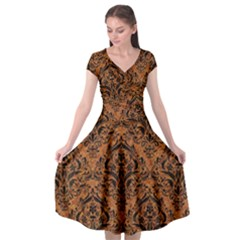 DAMASK1 BLACK MARBLE & RUSTED METAL Cap Sleeve Wrap Front Dress