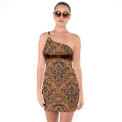 DAMASK1 BLACK MARBLE & RUSTED METAL One Soulder Bodycon Dress