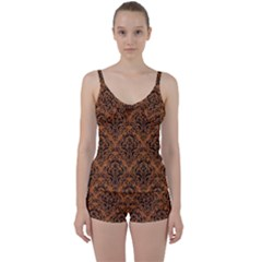 Damask1 Black Marble & Rusted Metal Tie Front Two Piece Tankini