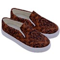 DAMASK1 BLACK MARBLE & RUSTED METAL Kids  Canvas Slip Ons View3
