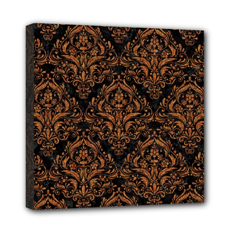 Damask1 Black Marble & Rusted Metal (r) Mini Canvas 8  X 8