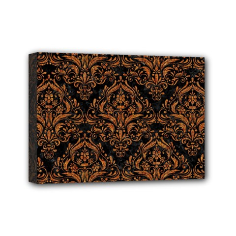 Damask1 Black Marble & Rusted Metal (r) Mini Canvas 7  X 5  by trendistuff