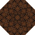 DAMASK1 BLACK MARBLE & RUSTED METAL (R) Folding Umbrellas View1