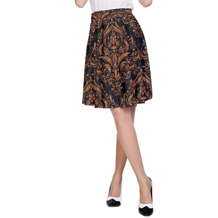DAMASK1 BLACK MARBLE & RUSTED METAL (R) A-Line Skirt