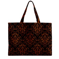Damask1 Black Marble & Rusted Metal (r) Zipper Mini Tote Bag by trendistuff