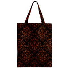 Damask1 Black Marble & Rusted Metal (r) Zipper Classic Tote Bag by trendistuff