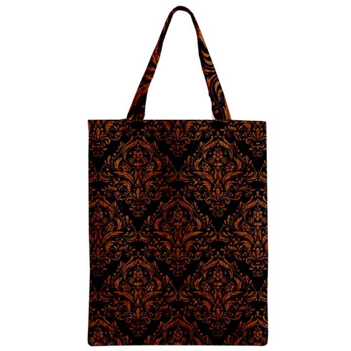DAMASK1 BLACK MARBLE & RUSTED METAL (R) Zipper Classic Tote Bag