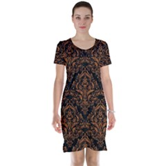 Damask1 Black Marble & Rusted Metal (r) Short Sleeve Nightdress
